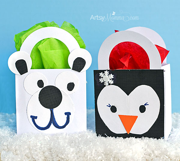 How to make a Polar Bear and Penguin Gift Bag Craft with Kids