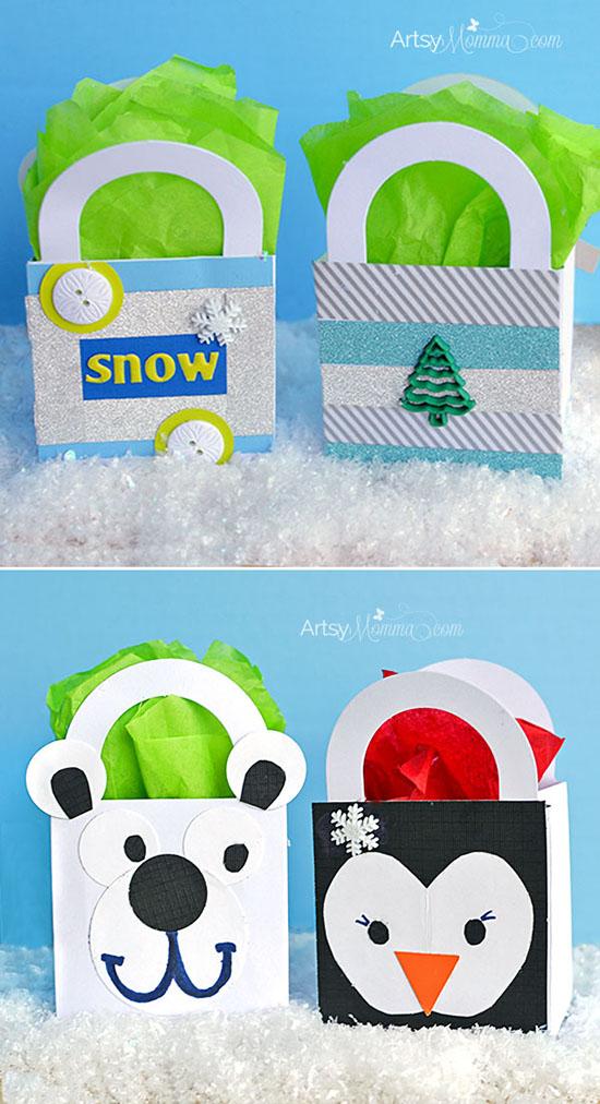 Kids Polar Bear & Penguin Gift Bag Craft Tutorials