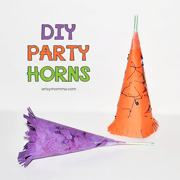 How to make paper Party Horns for New Year's Eve & Birthday Parties using a straw
