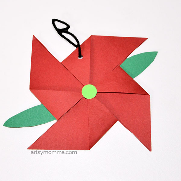 Paper Poinsettia Ornament Craft for Kids to Make for Christmas Around the World (Mexico)
