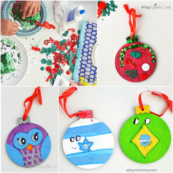 Kid-made Christmas Ornaments using wood ornaments