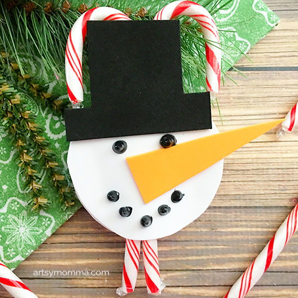 Snowman Candy Cane Ornament Craft for kids to make this Christmas