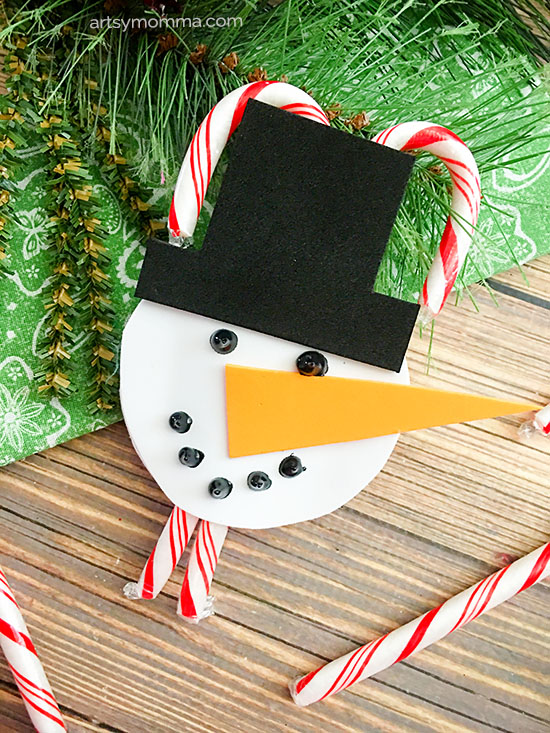 Tutorial for making a Foam Snowman Candy Cane Holder Ornament