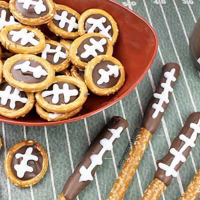 Football Inspired Chocolate-Dipped Pretzels