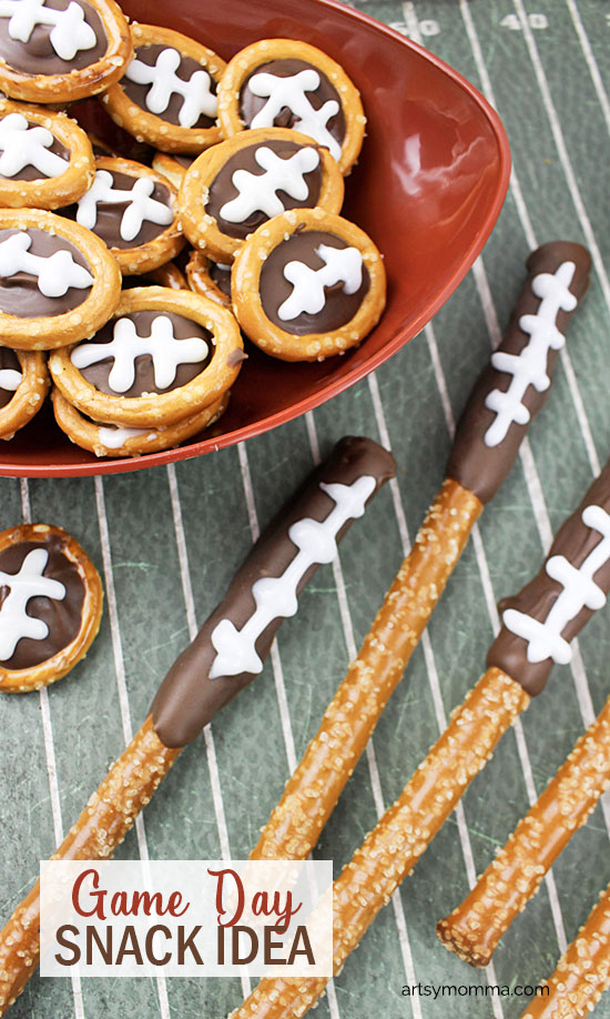 Looking for a fun snack to make for the Game Day? You will love how easy these football inspired chocolate-dipped pretzels are to make! These snacks are kid-approved yet fun for adults too.