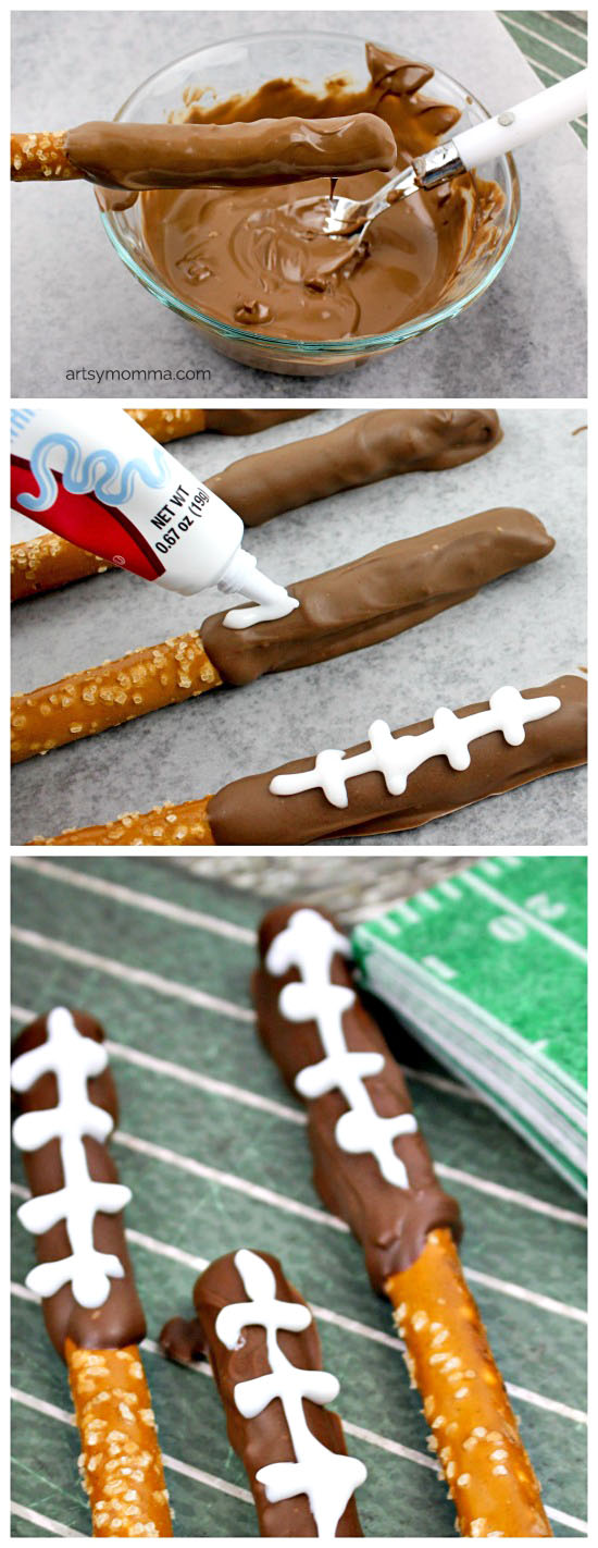 Easy-to-make Football Pretzel Rods Tutorial