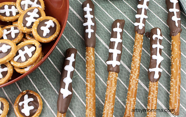 Game Day Chocolate DIpped Pretzel Rods & Football Shaped Pretzels