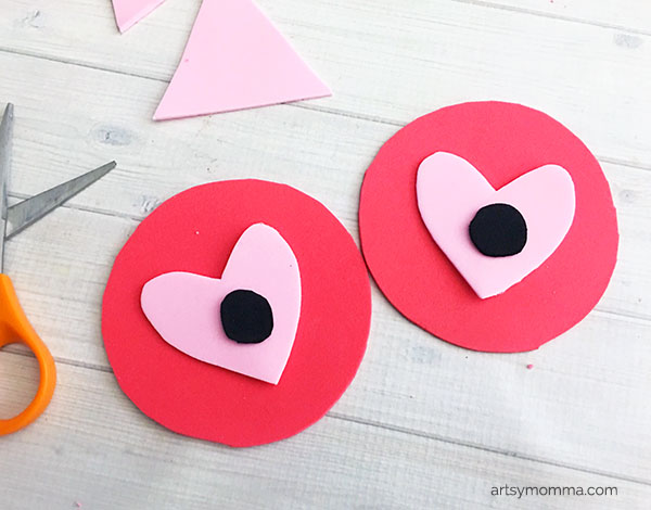 Heart-shaped Owl Eyes Foam Craft Idea