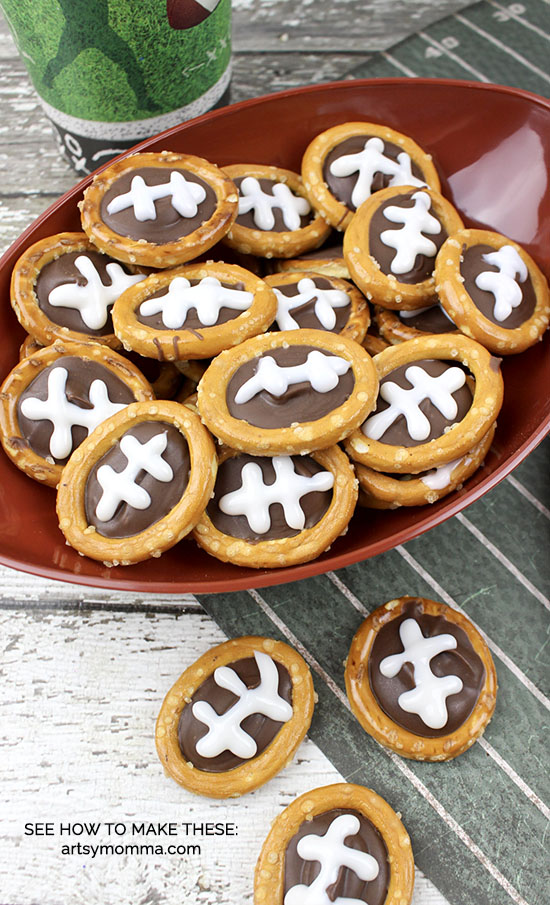 Mini Football Shaped Chocolate Pretzels