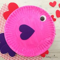Paper Plate Valentine's Day Fish with Heart Shapes