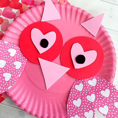 Charming Paper Plate Valentine's Day Owl Craft Using Hearts