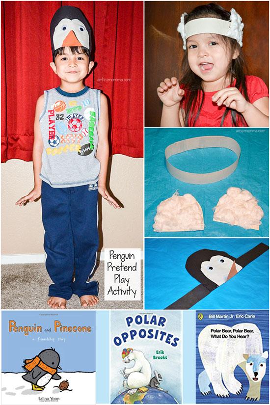 Penguin & Polar Bear Headband Hat Crafts