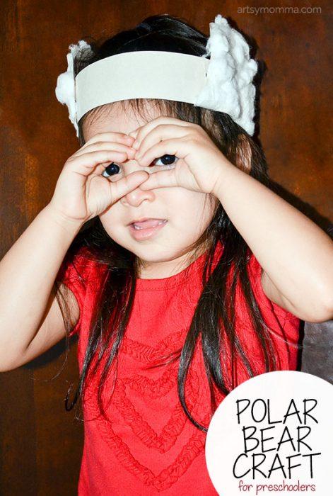 Make a fluffy Polar Bear Headband craft for imaginative play with preschoolers!