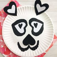 Paper Plate Panda Craft with Heart Shapes