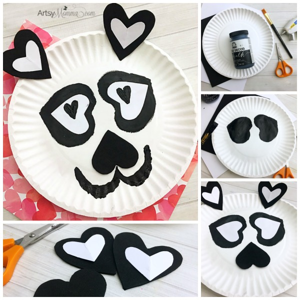 Fun Valentine's Day Paper Plate Panda Craft with Heart Shapes