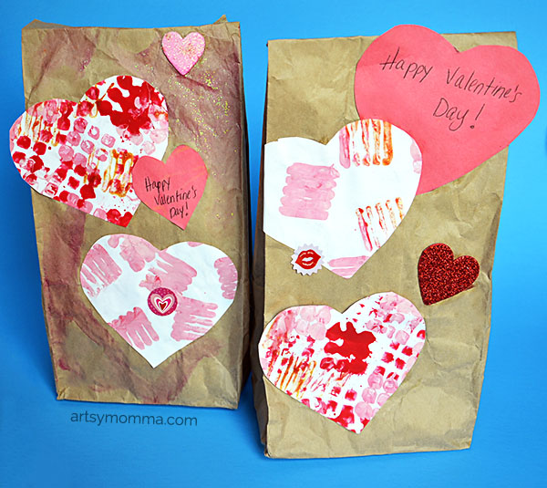 Creative Painting & Printmaking Process Art Techniquie for Valentine's Gift Bags