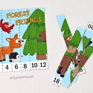 Printable Forest Friends Skip Counting Puzzles for Kindergartners