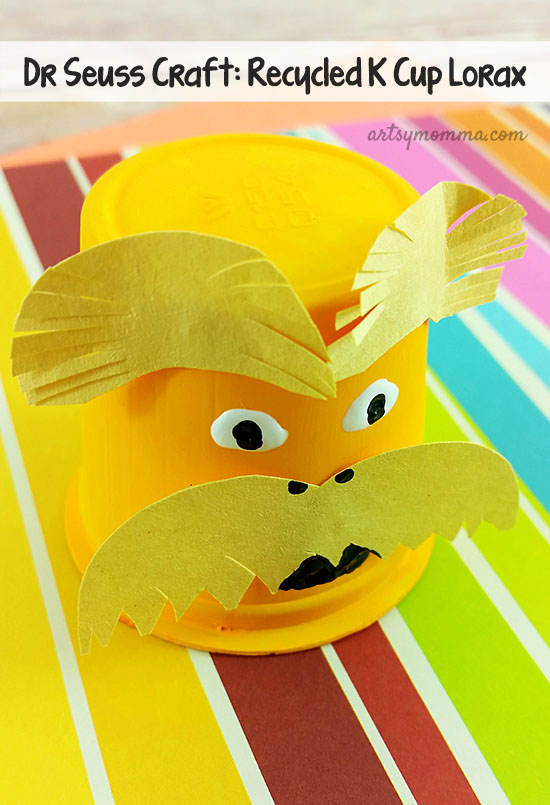 Celebrate Read Across America or Earth Day with a fun Recycled K Cup Lorax Craft