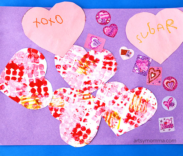 Process Art Heart Collage - Creative Ways to Make Prints!