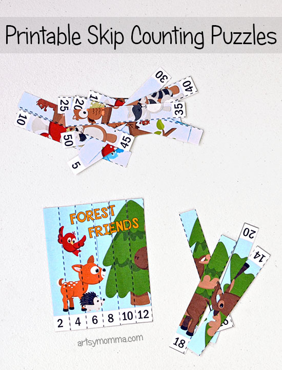How to make Printable Puzzles to Practice Counting by Two and Five featuring Forest Animals