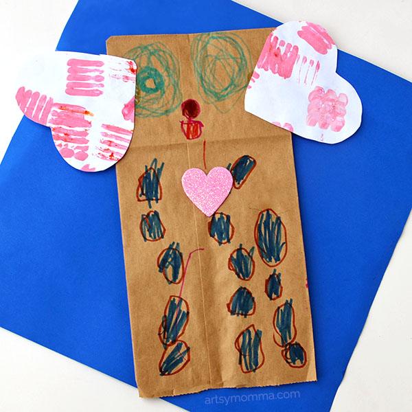 Paper Bag Valentine's Day Puppy Craft Puppet