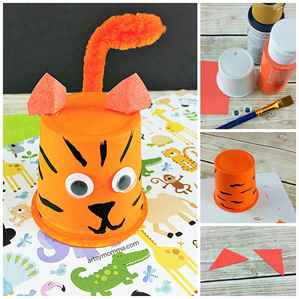 Have empty coffee pods/k cups? Turn them into an adorable Recycled Tiger Cup Craft!