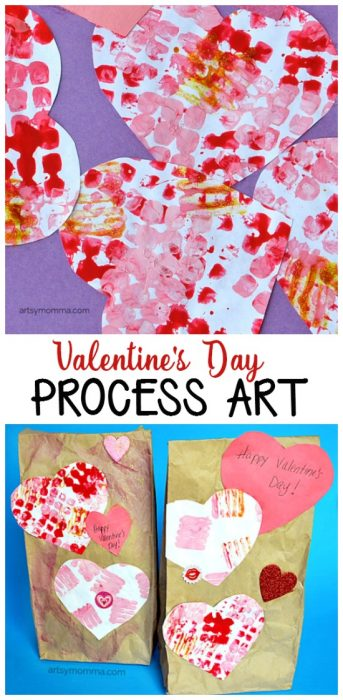 Valentine's Day Process Art to go along with the Valentine's Day Book, The Day It Rained Hearts