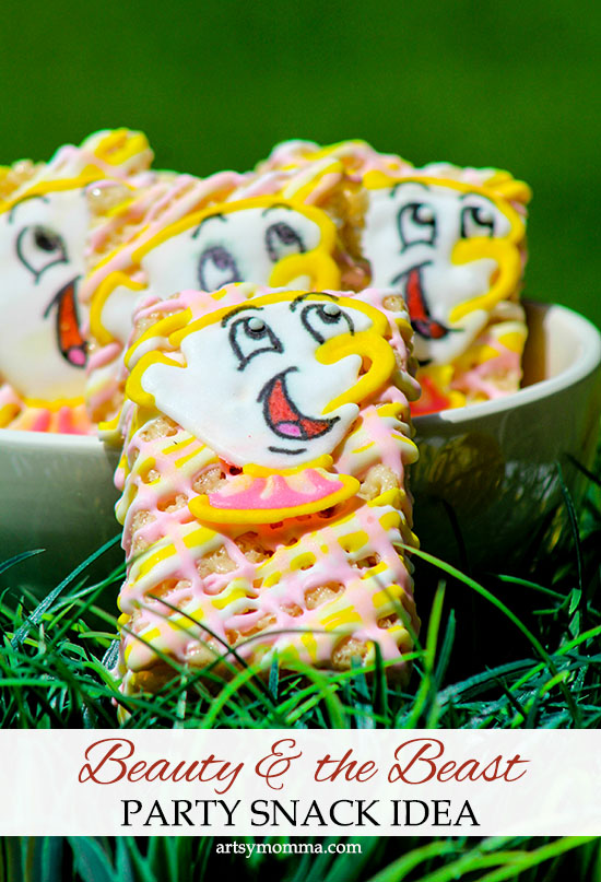 Need a fun snack idea for a Beauty and the Beast party? Make Rice Krispies Treats featuring Chip Royal Icing Toppers!