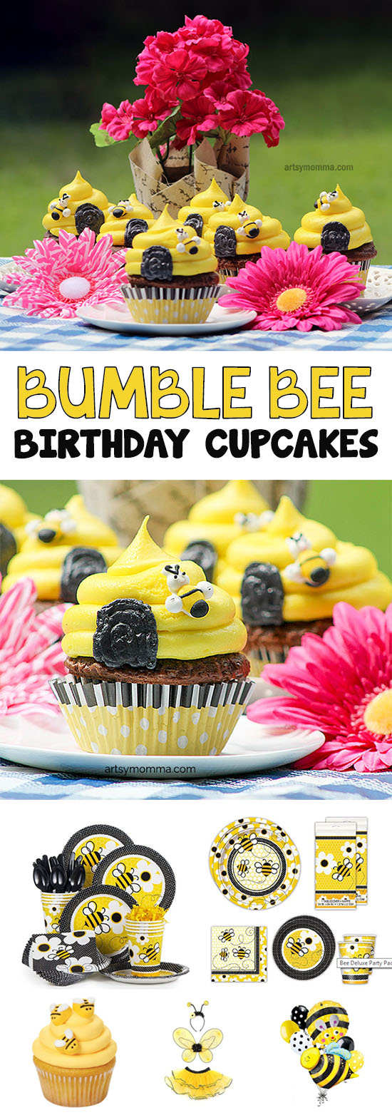 Recipe & Tutorial for creating Bumble Bee Birthday Cupcakes
