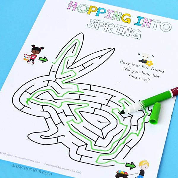 Bunny Shaped Easter Maze Printable for Preschoolers