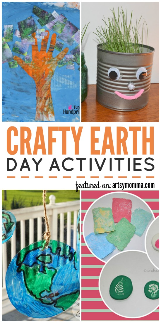 Crafty Earth Day Activities including recycled crafts, earth projects, & more!