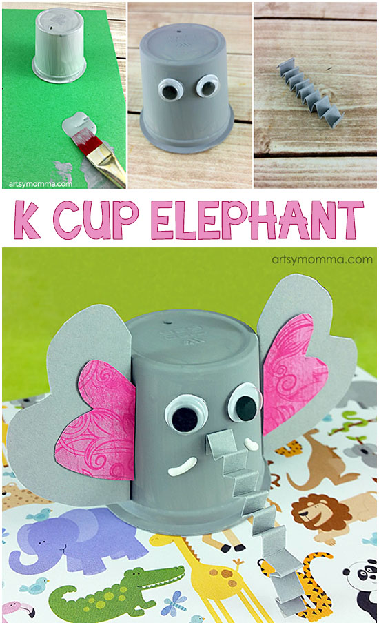 Kids Elephant Craft made from empty k cup/coffee pod