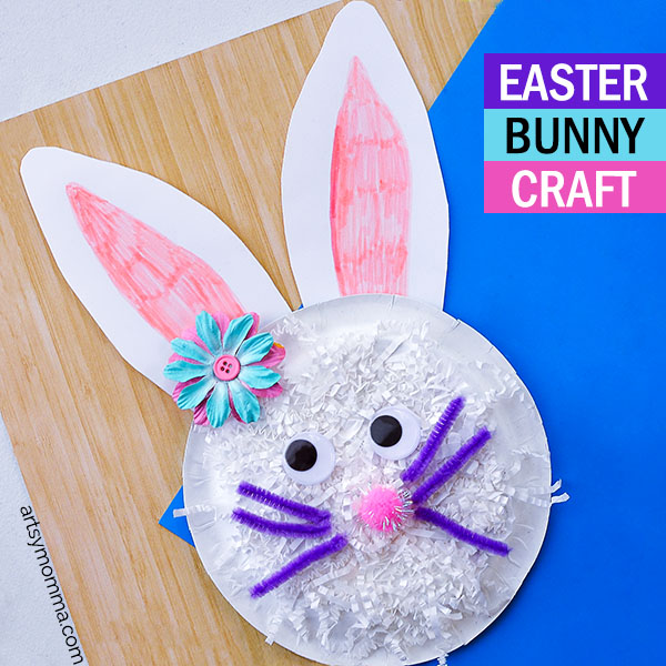 Shredded Paper Bunny Plate Craft - Easter Activity