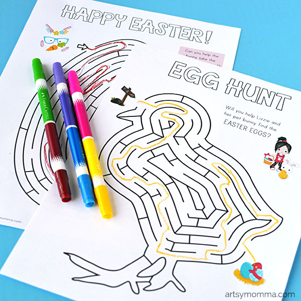 Printable Easter Mazes for Kids: Bunny, Egg, & Chick