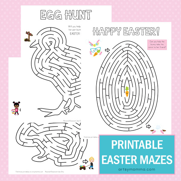 picture about Easter Printable named Uncomplicated Nonetheless Entertaining Printable Easter Mazes - Artsy Momma