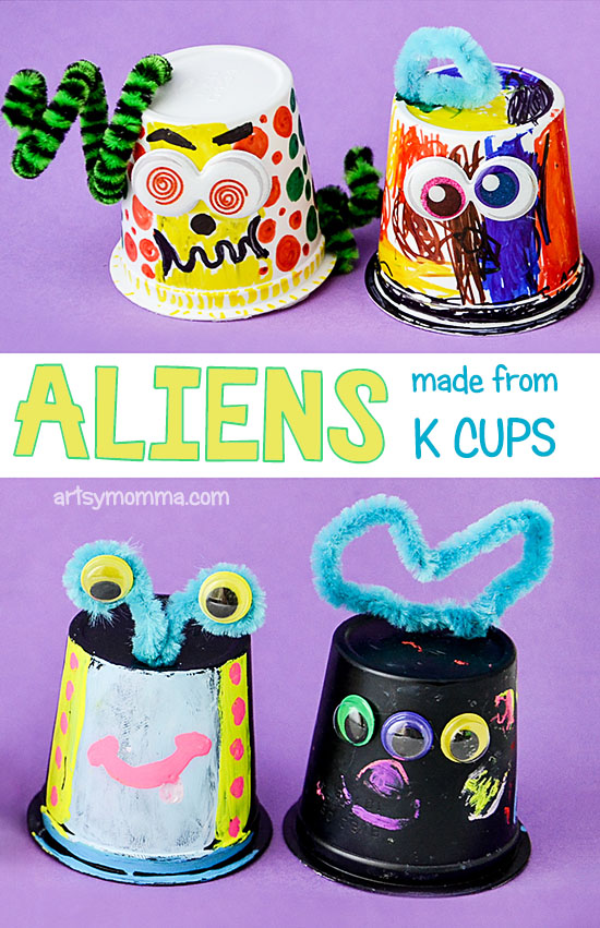 Invitation to Create Aliens from Empty K Cups - Kids Outer Space Craft Idea