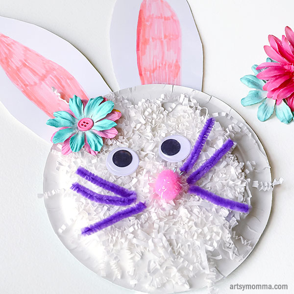 Shredded Paper Bunny Plate Craft for Kids - Spring or Easter Theme