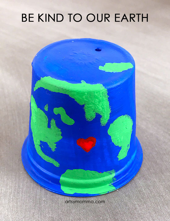 "Kids Earth Day Recycled Cup Craft - ""Be Kind to Our Earth"""