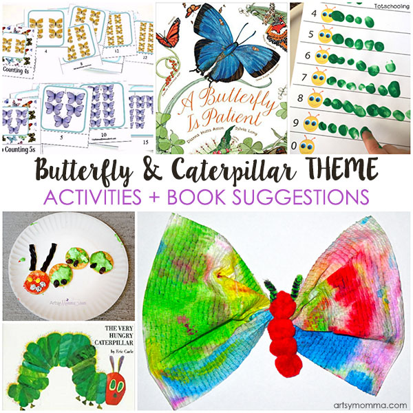 Caterpillar and Butterfly Book Theme including crafts & activities