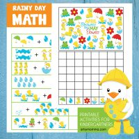 Rainy Day Math Printables for Kindergarteners