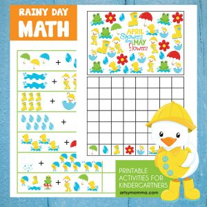 Kindergarten Math: Rainy Day Themed Adding & Graphing Activities
