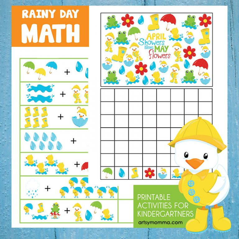 Kindergarten Math: Rainy Day Themed Adding & Graphing Activities