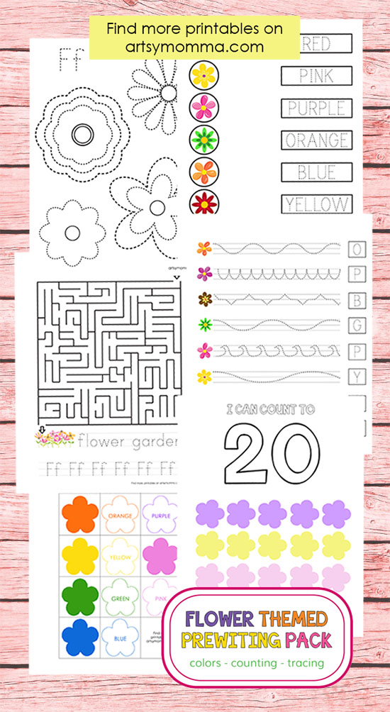 Fun with Flowers Prewriting Pack for Preschoolers: Focus on Tracing, Coloring, and Counting