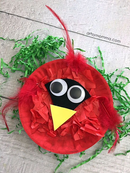 Kids Paper Plate Cardinal Craft with Tissue Paper
