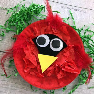 Adorable Paper Plate Cardinal Craft
