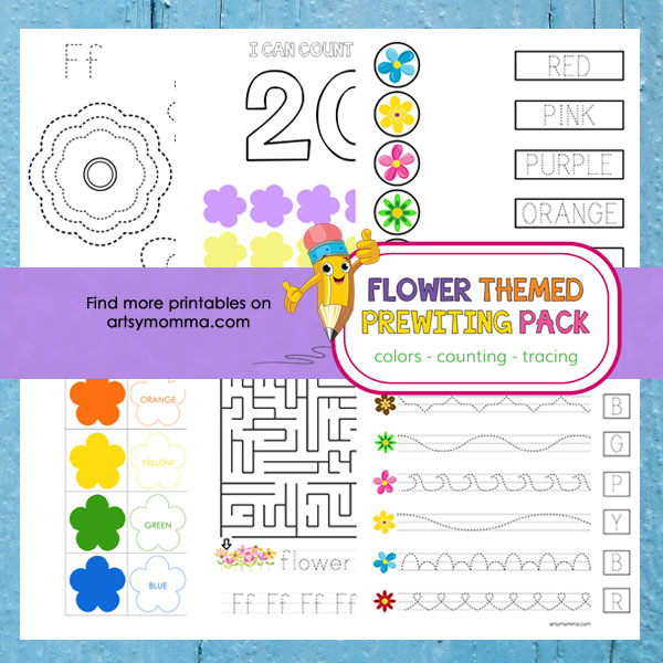 Flower Preschool Theme: Prewriting Activities, Colors, and Counting!