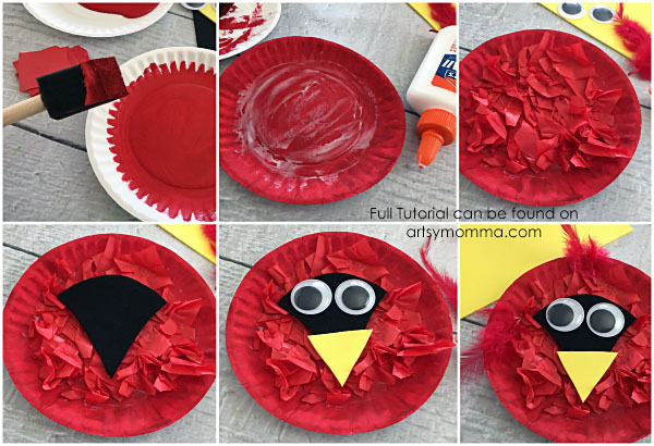 How to Make a Tissue Paper Cardinal Craft with a Paper Plate with Kids