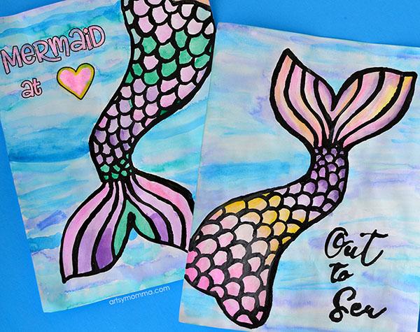 Black Glue Water Color Resist Mermaid Art Project for Kids