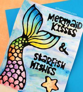 Printable Mermaid Kisses Starfish Wishes Quote & Black Glue Craft