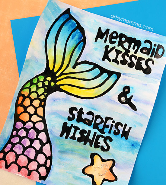 Printable Mermaid Kisses Starfish Wishes Quote & Black Glue Craft
